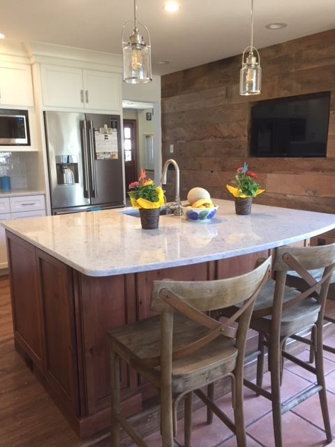 Point Pleasant Kitchen Remodel Design by Woodhaven Designer Robert McGregor. Dynasty by Omega Cabinetry, Williamsburg doorstyle. Perimeter is in Beach House painted finish while Island is in Rustic Alder with Sage stain and Coffee glaze.